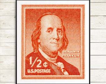 ben franklin, benjamin franklin, teacher gifts, classroom art, gifts for scientists, large wall art, man cave, retro poster, vintage science