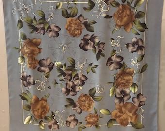 Oscar De Le Rental Silk Floral Scarf, Designer Scarf, Oscar, Brown Gray Floral Scarf