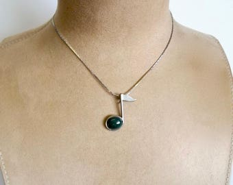 """Music Note Necklace Pendant Sterling Silver Eighth Note Genuine Deep Green Agate Bloodstone on 17"""" Chain for Men Women Musician Hand Crafted"""