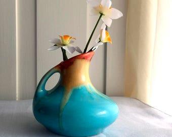 Belgium Art Pottery Vase / Drip Glaze Pottery / Small Vase / 1920s / Turquoise with Orange and Yellow Drip