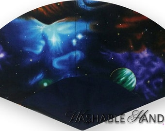 Washable Hand Held Fan Planets in Space - Traditional Style