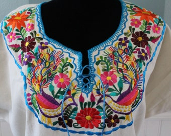 Off-White /  Ivory-- Large- Traditional Mexican Embroidered Dress.