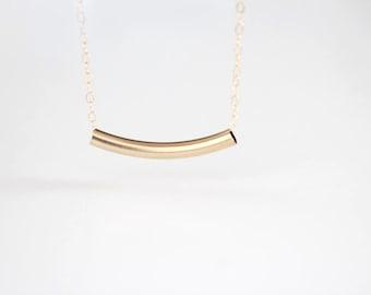 Curved Bar Necklace - 14k Gold Filled or Sterling Silver Bar - Estelle