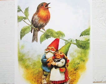 Vintage art print 80s. David the gnome and his girlfriend Lisa watching the singing bird. By Rien Poortvliet.