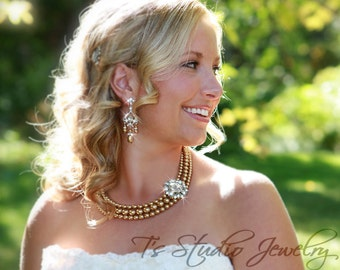 Multi Strand Pearl Bridal Necklace and Earring Wedding Set - available in several colors
