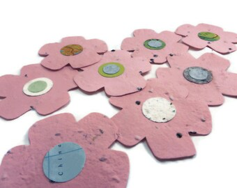 Handmade Paper Wildflower Seeded Paper Flower Favors - 20 count - 3 inch