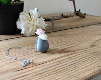 Mini flower pot necklace form 2 silver color