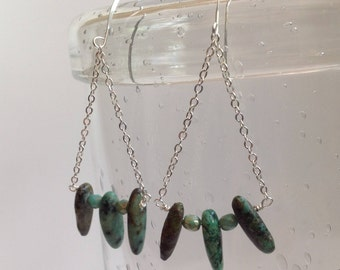 Long African Turquoise Earrings