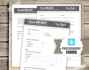 Photography Forms Template Kit - Client Agreement, Print Release and Model Release Document Templates for Photographers - INSTANT DOWNLOAD