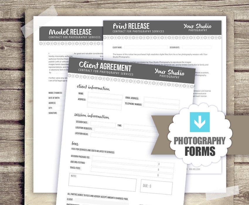 Photography Forms Template Kit Client Agreement Print