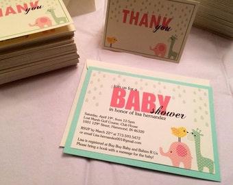 Baby Animals Baby Shower Invite