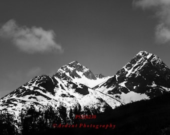 Black and White Snow Topped Mountains wilderness alaska landscape dark contrast Wall Art - the Dark Side of the Mountain - Art Photography