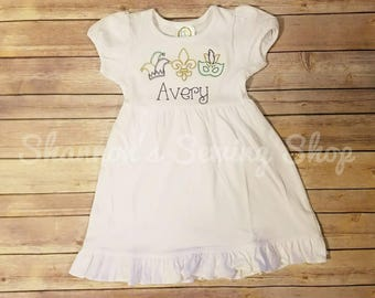 Mardi Gras Dress - Girls Mardi Gras Dress- Cute Mardi Gras Dress - Mardi Gras Applique Dress