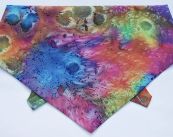 Rainbow Batik Dog bandana, Tie on, Bohemian Style, 100% Cotton Handmade in the Yorkshire Dales by Dudiedog. Free UK delivery, 7 sizes!