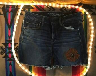 Jungle Cat Hand Embroidered Summer shorts cutoffs