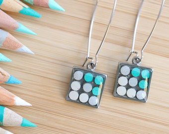Colored pencils recycled into square earrings, pewter, resin