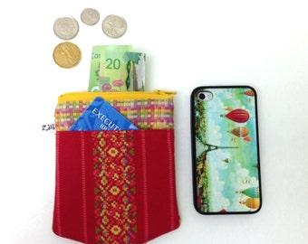 ON SALE Zipper Coin Pocket Pouch, iPhone Pouch - Flowers on Red