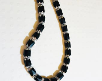 Czech Beads Destash - Strand of 25 6x4mm beads, black barrels with silver ends