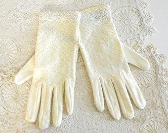 vintage white beaded gloves costume gloves white fancy party gloves