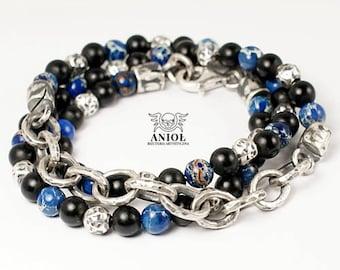 Chain Bracelet - 100% Sterling Silver - MEN JEWELRY - Rocker Jewelry- Blue Jasper Beads