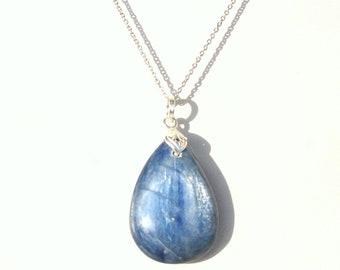 blue kyanite necklace, genuine kyanite, silver chain, minimalist necklace, free shipping