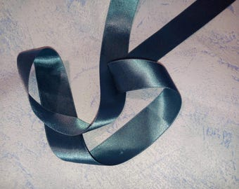 2 m in blue gray 2.5 cm or 25 mm satin ribbon