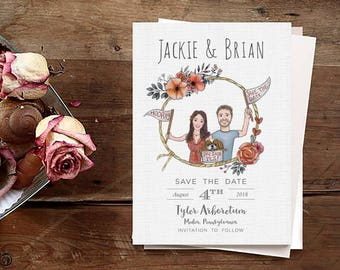 Custom Portrait Save the Date - Save the date invite-Couple Illustration - Wedding Digital-Wedding Invite -Save the Date -Wedding Invitation
