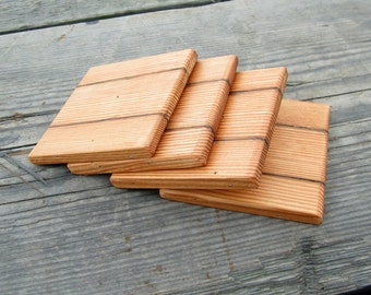 Reclaimed Wood Coasters - Barn wood Coaster Set -  Country Home Decor