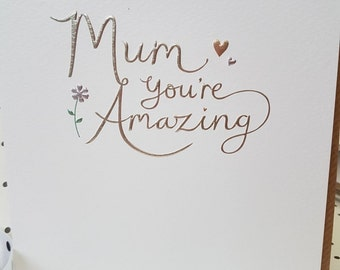 Mum your Amazing fabulous birthday card, Have a fabulous birthday card for an amazing Mum, Mum floral and heart birthday card