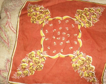 Vintage  Hankie Handkerchief -  Yellow Roses Pattern - With Brown Background