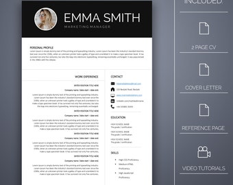 Resume Template 18 - 4 pages, Cover Letter, Microsoft Word, Instant Download, Professional Resume Template, CV Template, CV Template Word