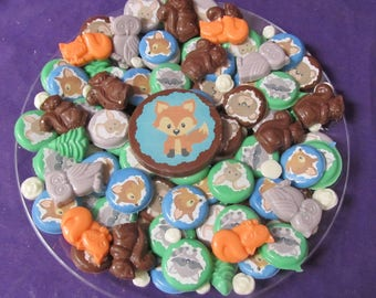 Woodland fox owl bunny deer animals chocolates candy tray