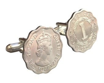 Belize 1 Cent Scalloped Coin Cufflinks with Free Cuff Link Box and Free Shipping