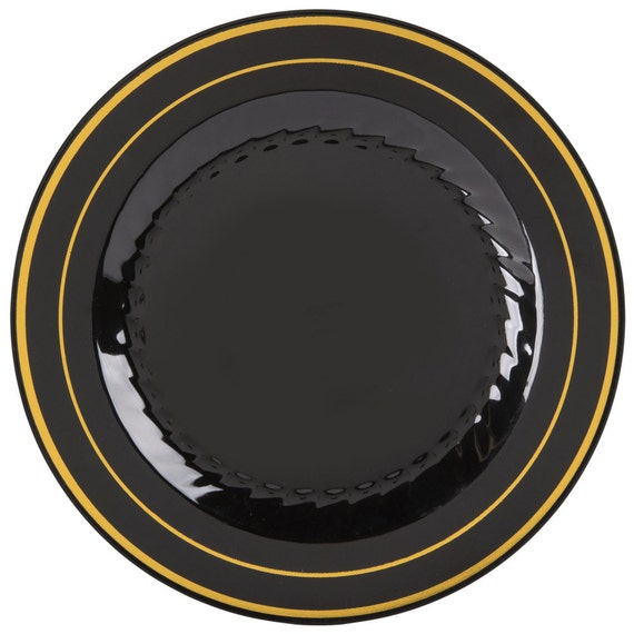 100 PCS - 6\  Black Plastic Disposable Plate With Gold Line Band Wedding Supplies Wedding Wedding Decor Plastic Plates Party Supplies from ...  sc 1 st  Etsy Studio & 100 PCS - 6\