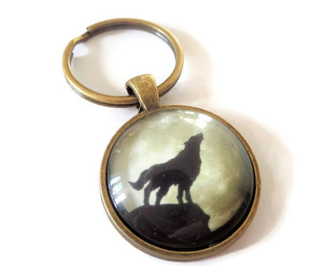 "Wolf 25mm / 1"" glass dome bronze tone KEYRING Teenwolf Twilight Werewolf inspired fan gift jewellery Uk"