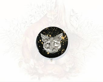 Fox Pill Box Inlaid in Hand Painted Black Enamel with Gold Splash Design Woodland Inspired with Personalized and Custom Colors vailable