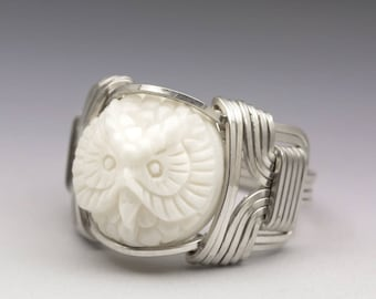 Carved Bone (bovine) Owl Cameo Sterling Silver Wire Ring - Made to Order and Ships Fast!