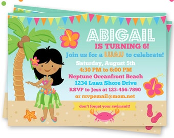 Dark Hula Girl Party Printable Invitation, Custom Hula Party Invitation, Printable Luau Birthday Party Invitation, Tropical Beach Party