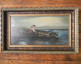 SALE! . Antique Oil Painting . Lady in Row Boat