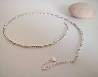 Fine silver Choker necklace beads
