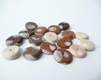Brown Boho Beads, Polymer Clay Beads, Polymer Beads Boho, Make Your Own, Brown Flat Beads, Brown Polymer Beads, Brown Round Beads