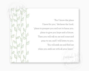NURSERY PRINTABLE, Bible Verse Nursery Art, For I Know the Plans I have for You, Bible Verse Printable, New Baby Gift, Instant Download