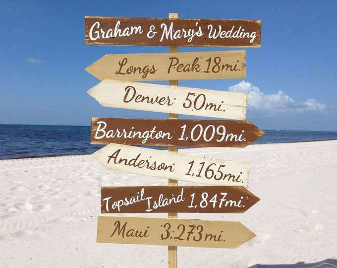 Wooden Directional Destination Sign, Beach Wedding Decor, Rustic Wood decor. Personalized Custom Wedding gift idea for couple.