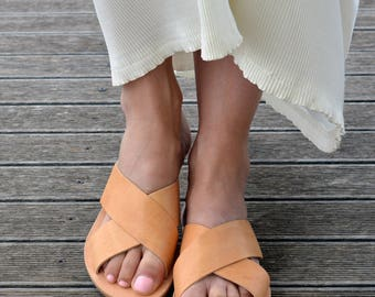 Greek sandals, Greek Leather Sandals ''Milos'', Slide Sandals, Leather Sandals,  Criss Cross Sandals,  X-strap sandals