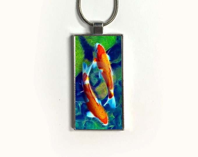 Koi Fish-Necklace-Pendant-Nature-jewelry-Zen-sublimation-gift for friends