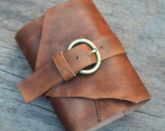 """One of a Kind / Leather Journal / Handmade / Diary / 6""""X4"""" LINED or plain"""