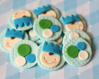 Whimsical Prince Baby Prince Fondant Cupcake Toppers - Perfect for Cupcakes, Cookies and Other Edibles
