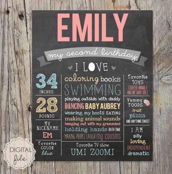 2nd Birthday Poster Baby Girl Second Birthday Chalkboard