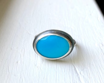 Delicate Persian Blue Turquoise Ring - dainty gemstone ring - gift-for-her - boho gift for mom -  gemstone ring - gift ideas for her - Sara