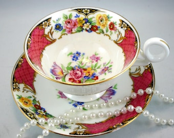 Vintage,Radfords Footed Teacup & Saucer,Lovely Floral Pattern, Gold Rims, Bone English China made in 1940s.